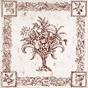 fresco wall painting with fruit