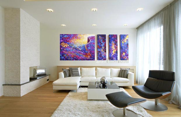 large art paintings in black and white living room