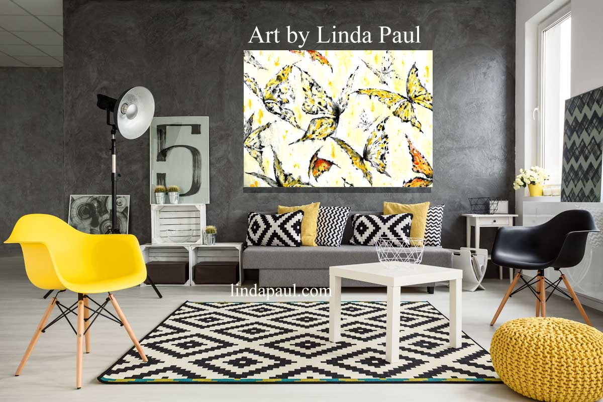 Black White Grey Yellow And Red Living Room Art Living