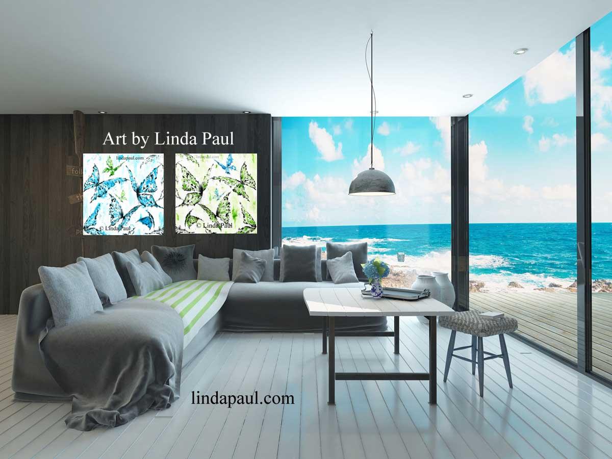 Art Décor: Butterfly Wall Art Canvas- Custom Color To Match Decor