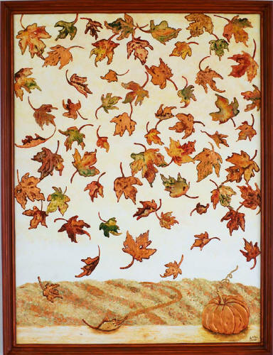 contemporary painting of autumn falling leaves
