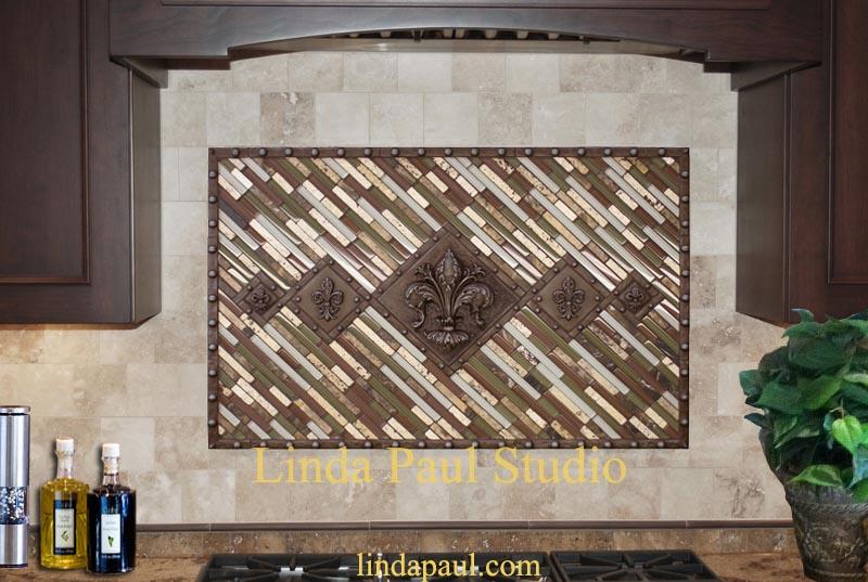 5 fleur de lis backsplash metal and mosaic tile medallion