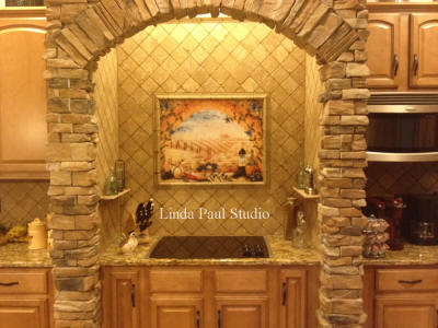 tuscany arch kitchen stove splash tiles in archway