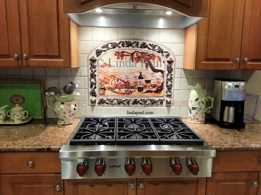 The vineyard tile murals tuscan wine tiles kitchen for Kitchen backsplash ideas