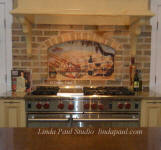 Vineyard backsplash in kitchen niche alcove idea