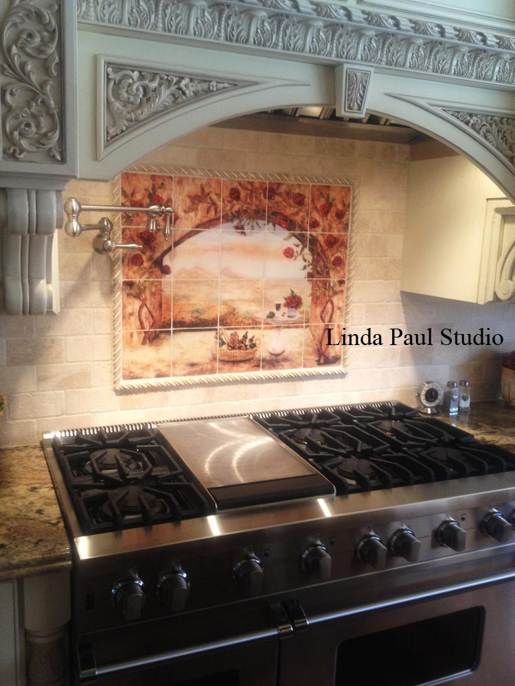 Decorative tile inserts metal accent tiles and overlays for Backsplash mural