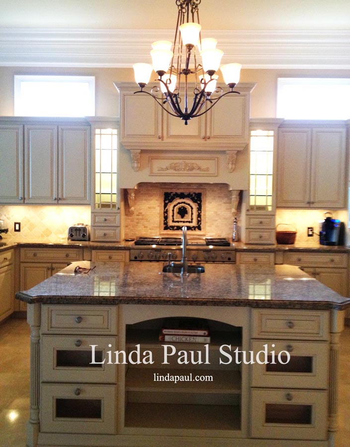 Custom Kitchen With Bronze Oil Rubbed Chateau Grape Medallion And Stacked Stone Backsplash