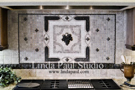 grapes kitchen backsplash tiles by Linda Paul Studio