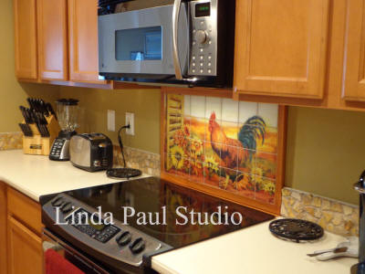 rooster tile backsplash idea