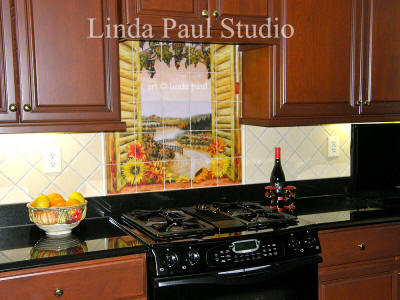 window backsplash of vineyard and sunflowers