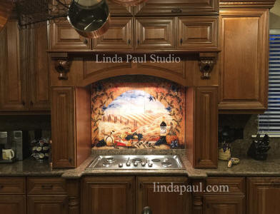 tuscan tile mural over stove. beautiful ideas. Home Design Ideas