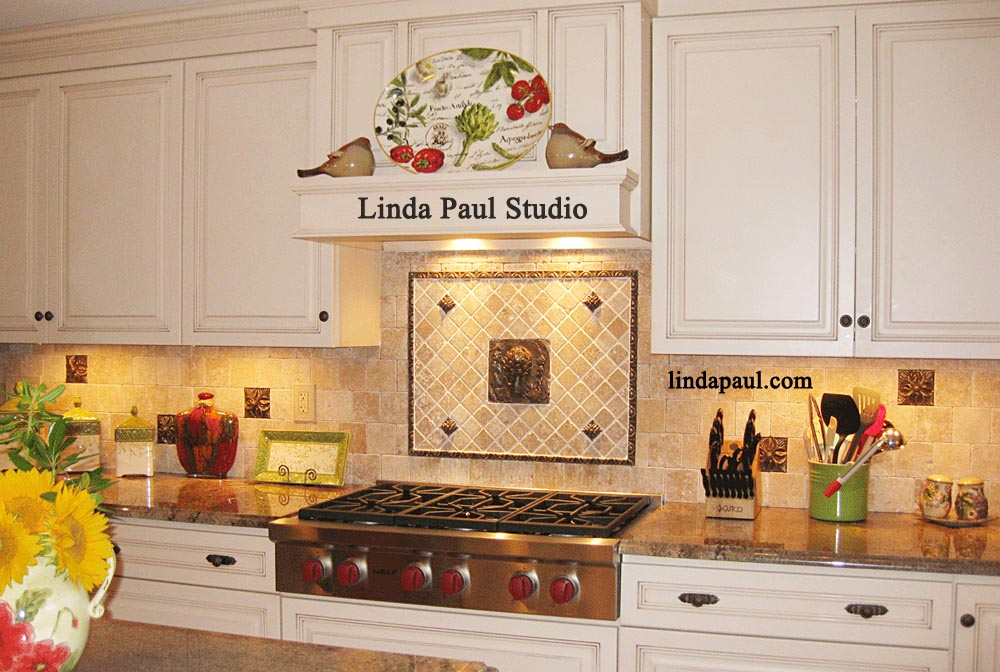 Kitchen Backsplash Design Idea With Artichoke Metal Tile Part 33