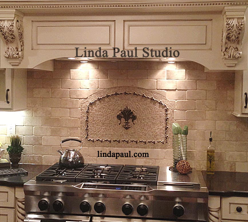 Kitchen Backsplash Medallions fleur de lis kitchen backsplash - mosaic tile medallions