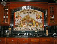 Italian Kitchen with mural and black tile
