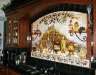 close up of italian kitchen mural with black ceramic tile