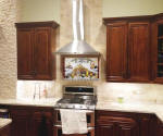 Kitchen backsplash with italian mural and subway tile