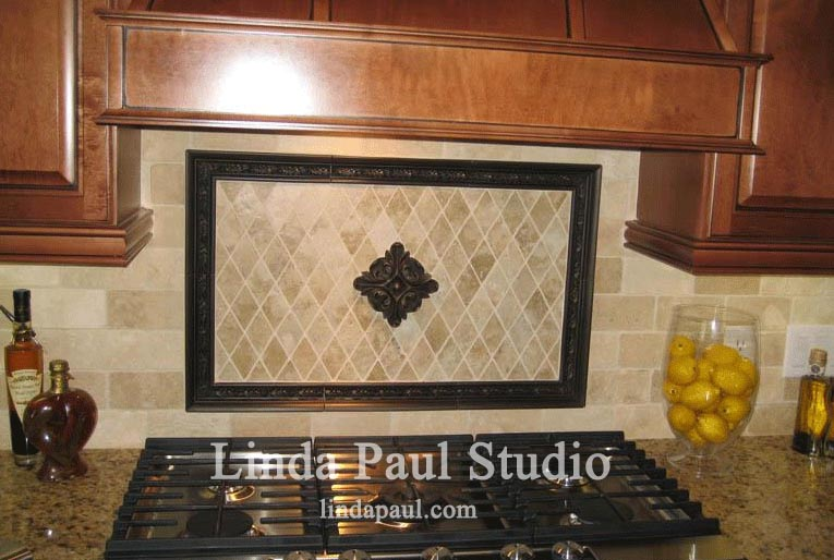 Simple kitchen backsplash idea with rachels flower accent tiles
