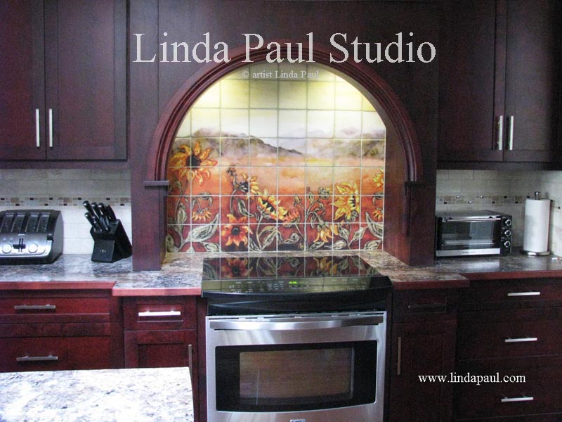 Bt Linda Paul Sunflower Filed backsplash