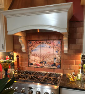 italian tile mural in country kitchen
