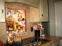 sqaure version of Tuscan kitchen backsplash