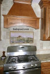 tuscan landscape tile backsplash idea