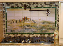 Tuscan mist backsplash with green border tile