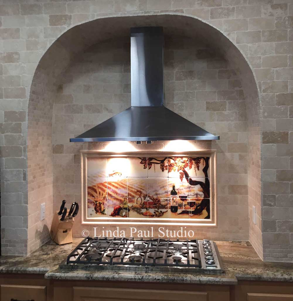 The vineyard tile murals tuscan wine tiles kitchen backsplashes vineyard backsplash in arched stove alcove dailygadgetfo Choice Image
