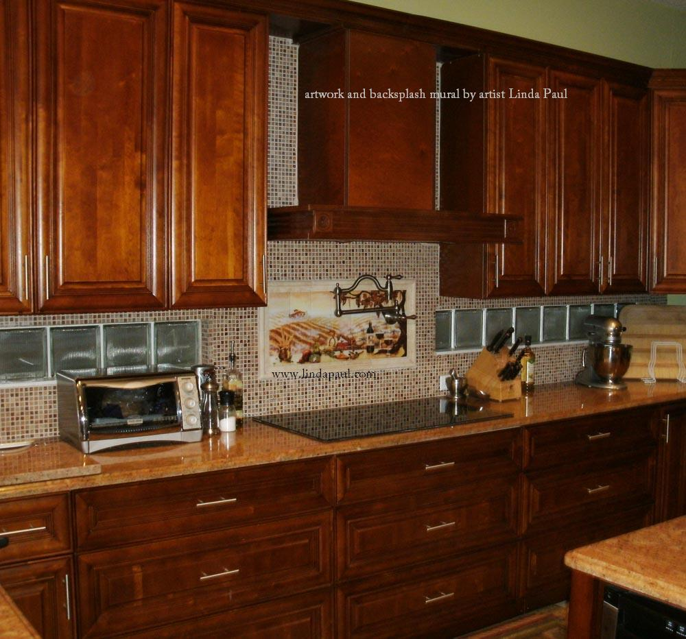 The vineyard tile murals tuscan wine tiles kitchen Kitchen backsplash ideas