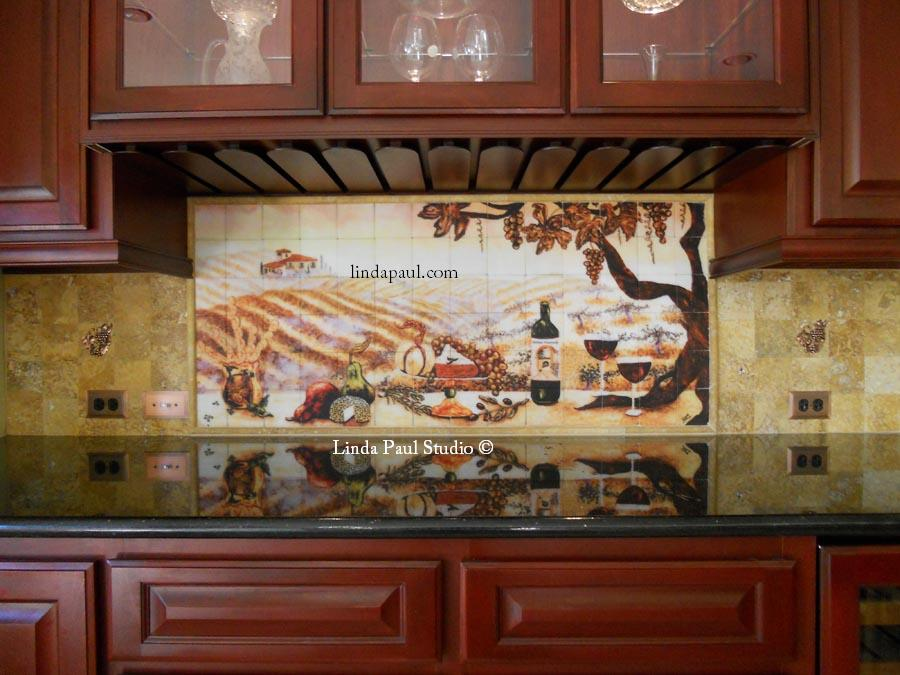 The vineyard tile murals tuscan wine tiles kitchen backsplashes - Kitchen backsplash ceramic tile designs ...