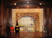 tile mural in wine cabinet
