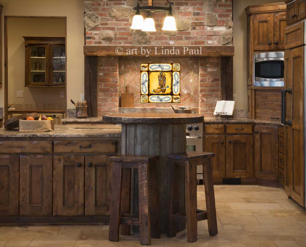 Western Style Country Kitchen With Unique Kitchen Island And Brick