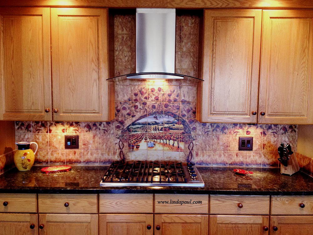 Wine and roses tile mural kitchen backsplash custom tile art - Backsplash design ...