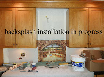 backsplash instalation in progress