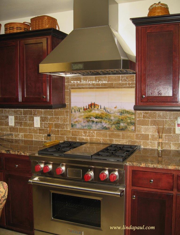 Backsplash idea cherry cabinets with that color counter looks like close match not sure if i - Custom kitchen backsplash tiles ...
