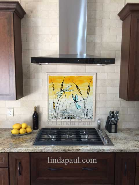 Dragonflies Artwork In Kitchen   Above Stove