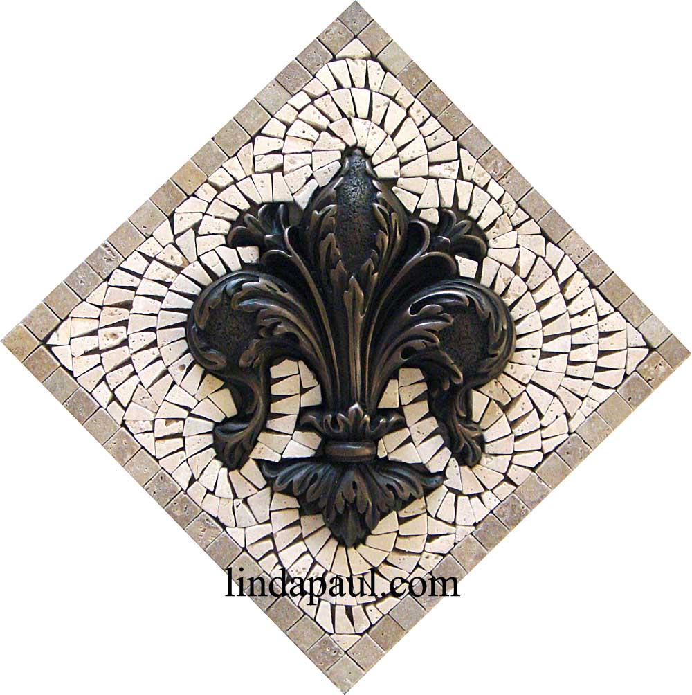 Fleur de lis backsplash tiles - Bronze Fleur De Lis Tile
