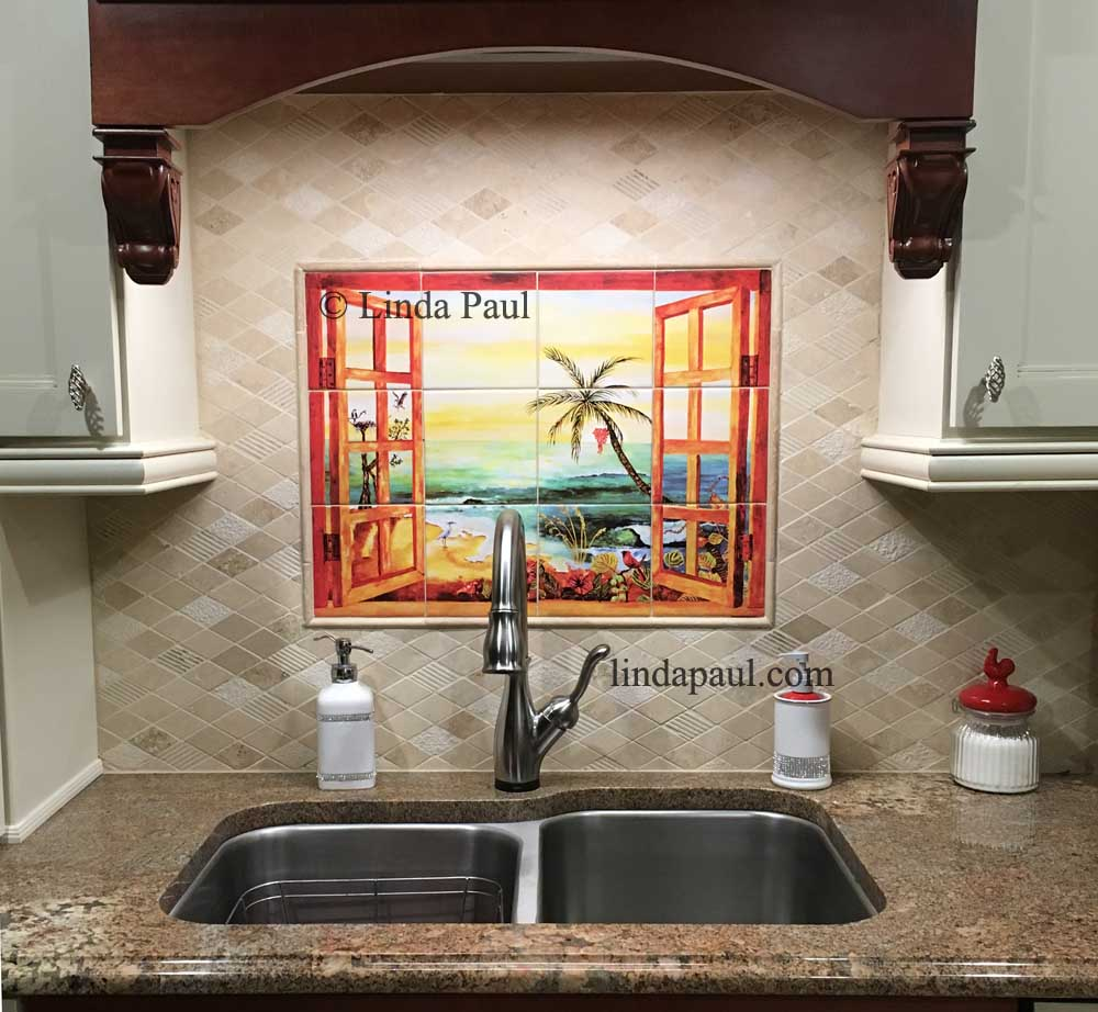 Florida tile mural backsplash tiles palm tree art tiles for Backsplash mural tile