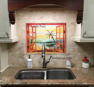 florida beach backsplash mural