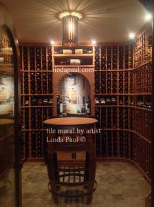 french birstro tile art in wine cellar