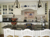 french country house backsplash in white kitchen