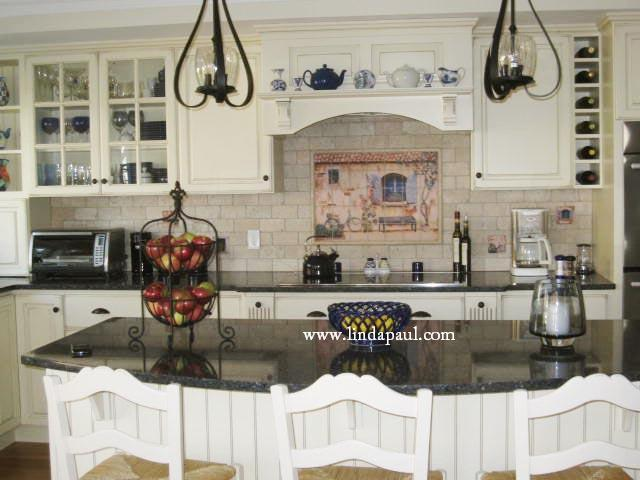 Love This Kitchen With Our French Country House Mural, White Cabinets,  Black Granite And Subway Tile Backsplash
