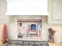 french country house mural installation