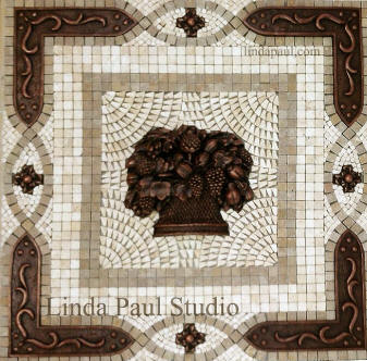 fruit basket mosaic tile backsplash
