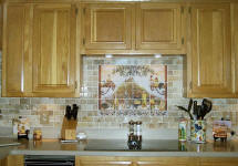 Italian kitchen mural with travertine backsplash tile