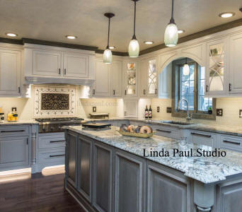 ravenna medallion in grey white and black kitchen