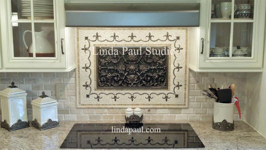 Ravenna Plque medallion with subway tile backsplash