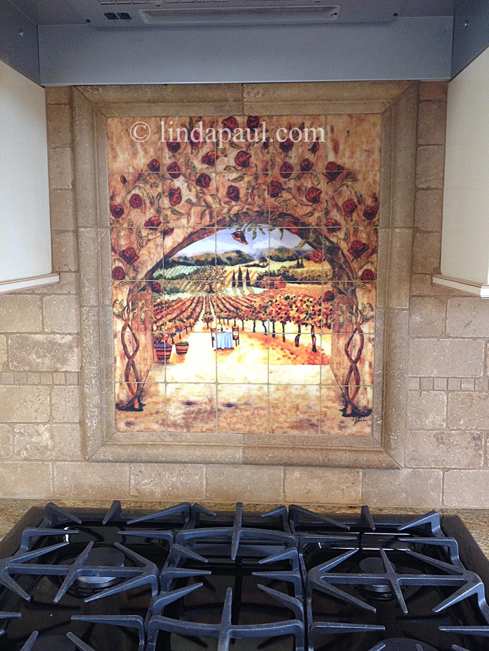 Tile art italian tiles of vineyard roses backsplash tiles close up picture of mural dailygadgetfo Image collections