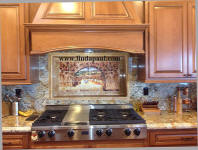 roses and vines kitchen backsplash with granite