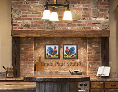 rustic kitchen decor with 2 roosters tiles