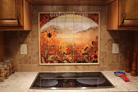 sunflowers tile backsplash idea